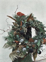 Big Beautiful New Year Wreath With Variety Of  Decoration