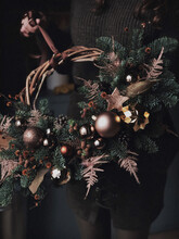 Beautiful New Year Wreath In Golden Colors
