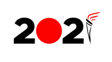 Tokyo 2021 Sports Games In Japan. Date And Flame. Summer Olympic Games. Vector Illustration.