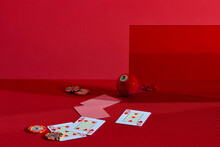 Leisure Games Concept With Gambling Dice Poker Cards And Money Chips And Billiard Ball