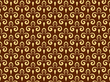 Flower Geometric Pattern. Seamless Vector Background. Gold And Dark Brown Ornament. Ornament For Fabric, Wallpaper, Packaging. Decorative Print