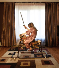 Princess Warrior Child Playing Inside Home