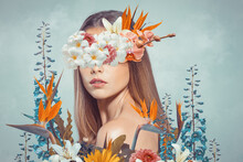 Abstract Art Collage Of Young Woman With Flowers