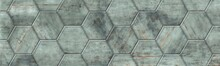 Hex Tiles With A Rusty Stone Texture