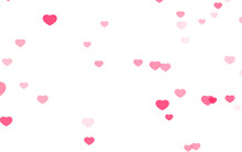 Valentine Day Pink Hearts On White Background.