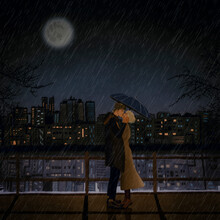 """Couple In Love In The Rain On Valentine""""s Day"""