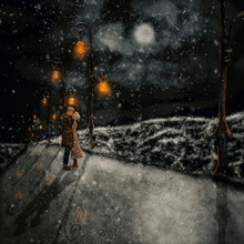 Couple In Snow On Valentine's Day