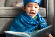 Imaginative Happy Little Kid Reading