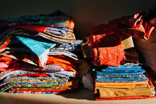 A Variety Of Colored Fabrics For Needlework.