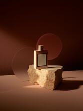 Mockup Geometric Shape Stone Podium With Glass Perfume Bottle