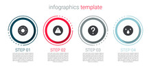 Set Sun, Exclamation Mark In Triangle, Unknown Search And Water Drop. Business Infographic Template. Vector
