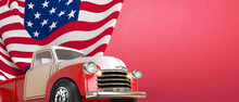 4th Of July, Vintage Truck Firework For Independence Day And  American Flag For Memorial Day On Red Background. Right Side Copy Space - 3d Rendering