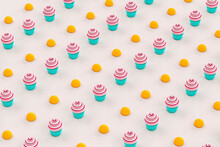 A Pattern Of Pink And White Cupcakes