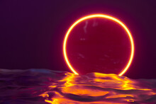 Glowing Neon Red Circle Ring Line With Reflections On Water