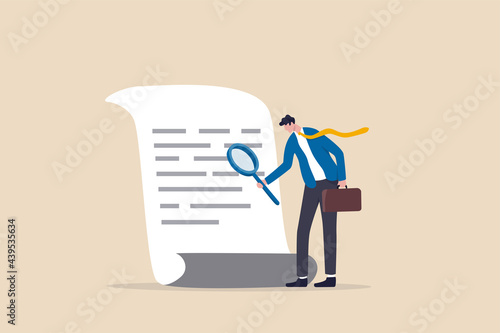 Foto Document checking, agreement or contract validation, financial or budget analysis, search for document files concept, businessman manager holding big magnifying glass checking document paper