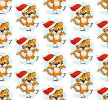 Merry Cartoon Tiger Christmas Pattern Vector Illustration.
