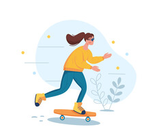 The Girl Is Riding A Skateboard. Vector Illustration