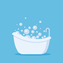 White Bathtub In Bathroom. Vintage Bath And Soap Foam Bubbles On Blue Background, Illustration.