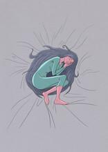 Girl Sleeping On Soft Bed
