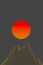 Illustration Of Volcano Against A Giant Sun