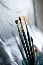 Paint Brushes In The Glass.