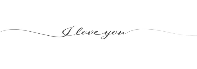 calligraphic inscription I LOVE YOU in one line