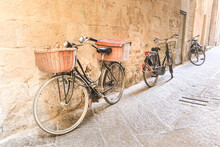 Bikes In The Street Of The Walled City Of Lucca. Italy