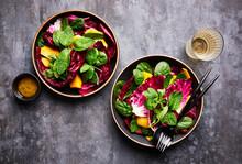 Bowls Of Radicchio Salad With White Wine Horizontal Shot