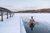 Man In Ice-Hole On The Lake
