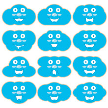 A Set Of Wooden Kids Toy Layouts With Print In The Shape Of Blue Clouds With Faces And Smiles. Vector Drawings For Laser Cutting, Developing Children's Toys, Puzzles, Montessori Busy Board Elements.