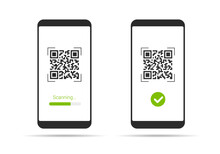 Flat Design Illustration Of Smartphone With Touch Screen And QR Code Scanning Icon. Isolated On White Background, Vector