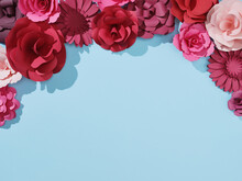 Red And Pink Paper Crafted Flowers And Roses