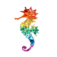 Glittering Seahorse Icons With Rainbow Colors Glitter Sequins On White For Valentine Day, Kid's Design, Wedding Invitation, Branding, Logo, Label, LGBT Symbol. Vector Illustration