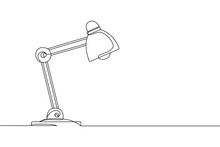 Continuous One Line Of Office Lamp In Silhouette On A White Background. Linear Stylized.Minimalist.