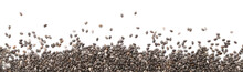 Pile Of Chia Seeds On White Background, Top View
