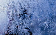 Frost Crystals On Glass Macro Abstract Nature