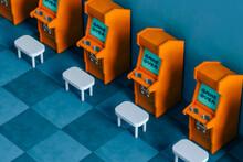 3D Render Of A Room Full Of Orange Arcade Cabinet On Blue Background