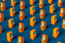 Pattern Of Orange Arcade Cabinet On Blue Background Randomly Positioned