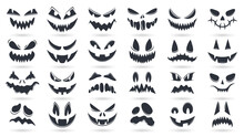 Halloween Pumpkins Faces. Spooky Ghost Emoticons Faces Isolated Vector Illustration Set. Scary Pumpkin Faces Silhouette