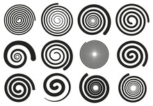 Abstract Spirals. Vortex Swirl Motion Elements, Simple Rotating Spirals Silhouettes Isolated Vector Illustration Set. Spiral Rotating Stripes