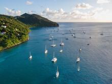 Sailing Boats In Caribbean Sea Bay, Yacht Marina, Antilles Islands Aerial View