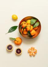 Flat Lay Of Satsuma's, Blood Oranges And Mandarins