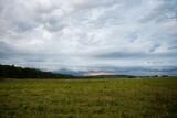 green village meadow with dark sky