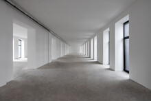 White Hall With Clean Light Walls In Daylight