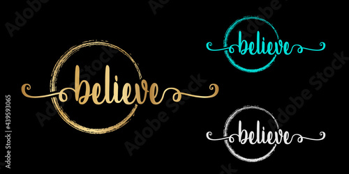 Canvas set of Vector calligraphy phrase Believer text isolated circle in gold color with black background