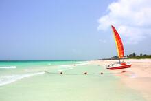 View Of The Cuban Beach Varadero. Boat On The Beach