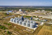 Aerial View At Grain Elevators At Agricultural Complex