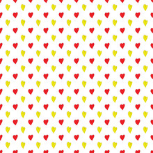 Seamless Shiny Red And Yellow Hearts Pattern ,vector Design