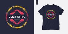 California Graphic T-shirt Design, Geometric Print, Vector Illustration