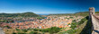 Panoramic aerial view, from the Malaspina Castle, on Bosa town and the Temo river, flowing into the Mediterranean sea.